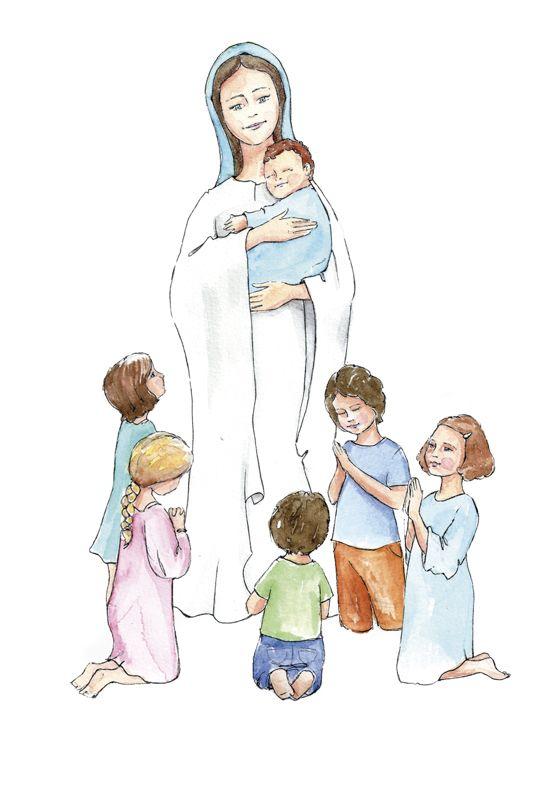 Reina de la infancia espiritual. Virgen María con niños