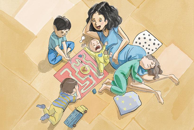 Ilustración madre con hijos juega